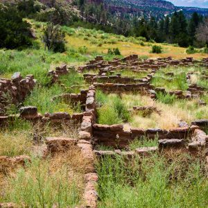 Long House pueblo ruins in Bandelier National Monument, New Mexico