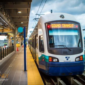 Sound Transit light rail train at SeaTac Airport Station