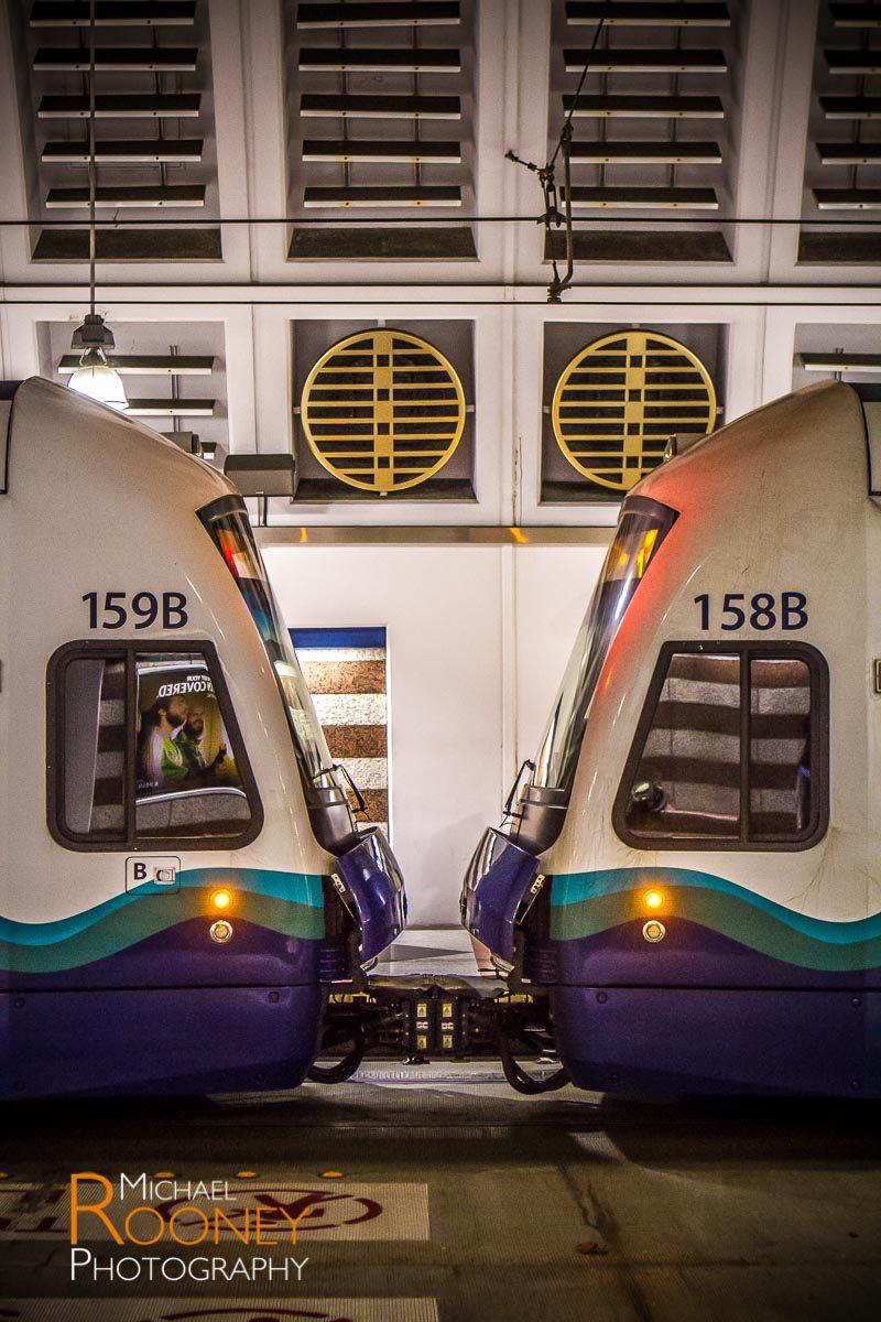 sound transit light rail vehicles touching