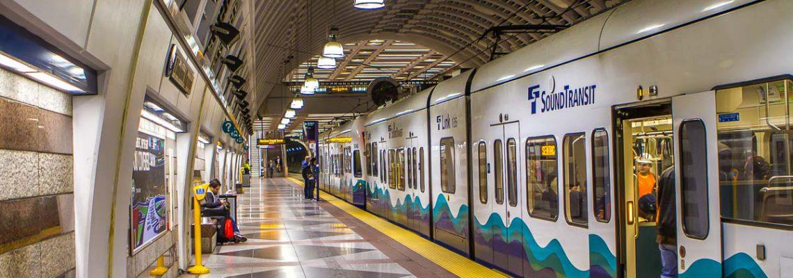 Sound Transit light rail train at Pioneer Square Station.
