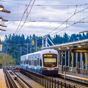 Sound Transit light rail train at Tukwila/International Blvd Station