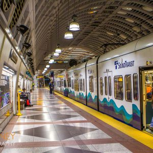 Sound Transit light rail train at Pioneer Square Station.