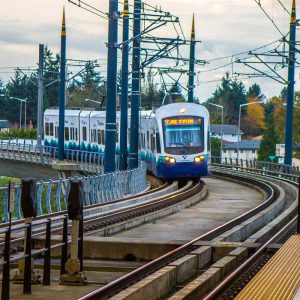 A Sound Transit light rail train entering the Tukwila/International Blvd Station