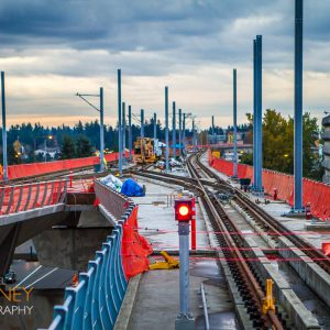 Construction of the Sound Transit South 200th Street Extension just beyond the SeaTac/Airport Station