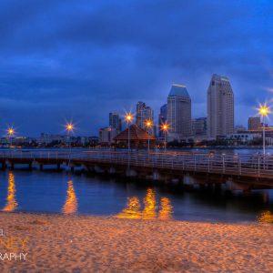 Downtown San Diego shot from a beach on Coronado Island before dawn