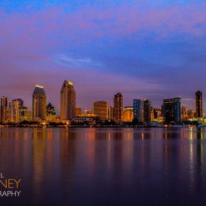 Dawn over the San Diego skyline