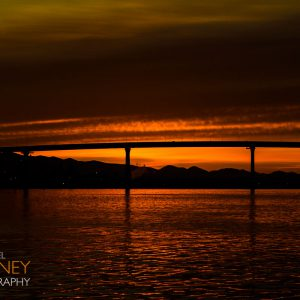 Early morning sunrise over the Coronado Bridge