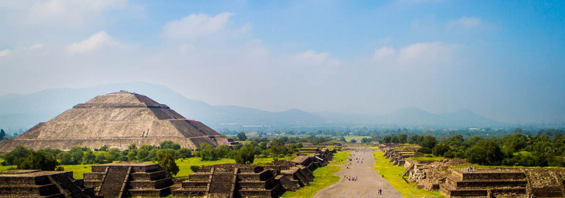 Teotihuacan's Pyramid of the Sun and Avenue of the Dead, as viewed from the Pyramid of the Moon.
