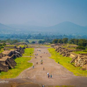 Teotihuacan's Avenue of the Dead, as viewed from the Pyramid of the Moon.
