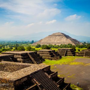 The Pyramid of the Sun at Teotihuacan, as viewed across the Plaza of the Moon from the Pyramid of the Moon.