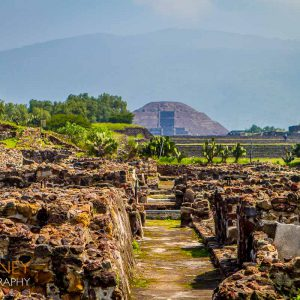 Archeological remains in front of the Pyramid of the Moon at Teotihuacan