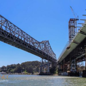 Old Bay Bridge next to construction of new self-anchored suspension bridge space