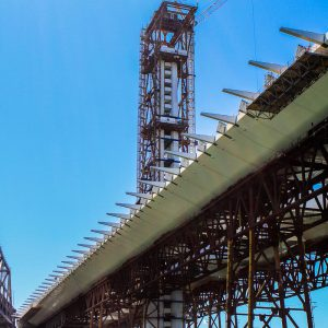 Construction of the tower for the new self-anchored suspension bridge tower of the Bay Bridge in San Francisco, California