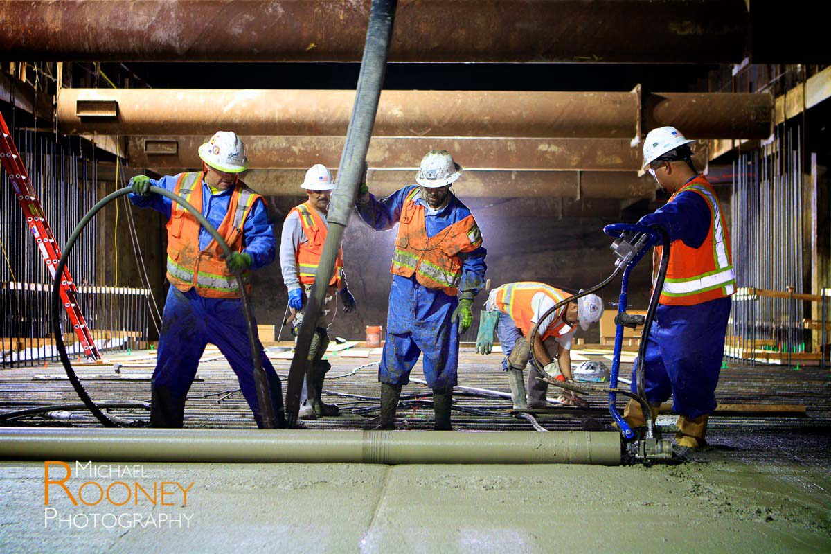bart svbx berryessa extension to silicon valley trench concrete pour