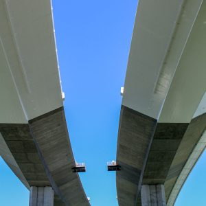 Twin roadways of the new Bay Bridge skyway viaduct in San Francisco, California.