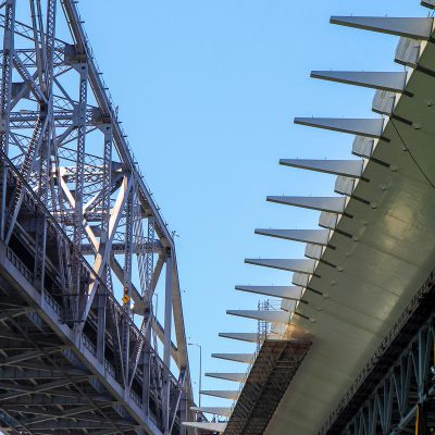 Old and new Bay Bridge spans next to each other
