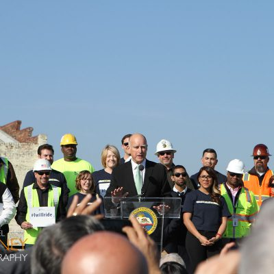 Governor Jerry Brown of California giving a speech at the California High Speed Rail groundbreaking ceremony in Fresno.
