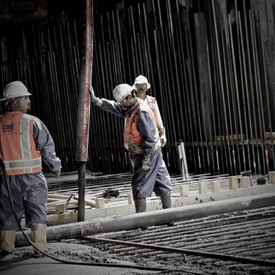 Placing concrete in the Montague Trench as part of the BART Silicon Valley Berryessa Extension project in Milpitas, California