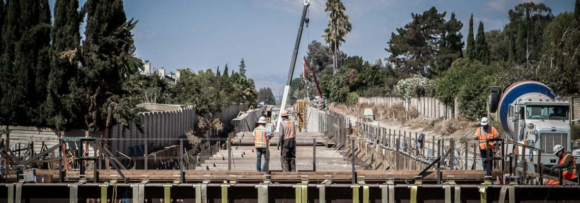 Construction of the Hostetter Trench as viewed from Sierra Road/Lundy Avenue in San Jose, California as part of the BART Silicon Valley Berryessa Extension project