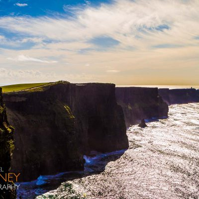The Cliffs of Moher in County Clare, Ireland on a sunny day