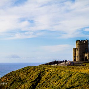 O'Brien's Tower at the Cliffs of Moher in County Clare, Ireland on a sunny day