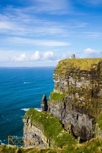 o'brien's tower cliffs of moher county clare ireland sunny