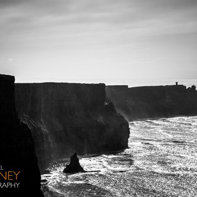 Black and white photo of the Cliffs of Moher in County Clare, Ireland