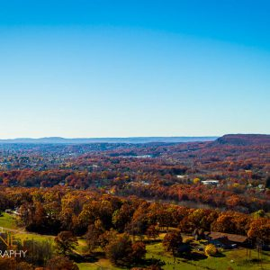 View of fall foliage in Meriden, Connecticut from Chauncey Peak in Giuffrida Park.