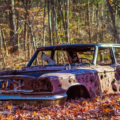 Abandon car in Giuffrida Park in Meriden, Connecticut amongst fall leaves.
