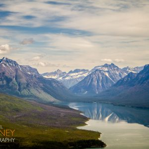 View of Lake McDonald and surrounding mountains from Apgar Lookout in Glacier National Park, Montana