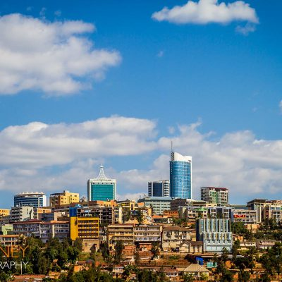 The downtown Kigali, Rwanda skyline on a sunny summer day with blue skies.
