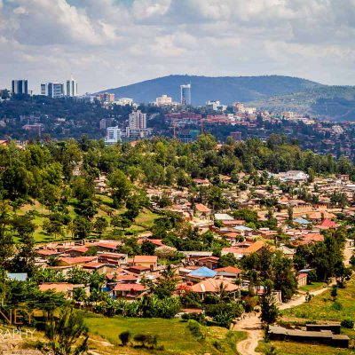 View of the downtown Kigali skyline from the Inzora Rooftop Cafe.