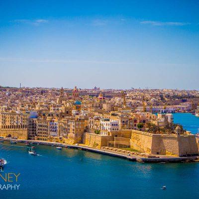 senglea malta sunny historic tourism urban citadel walls bay water