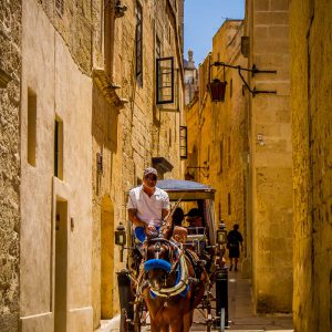 A horse and carriage in a narrow street of historic Mdina, Malta on a sunny day