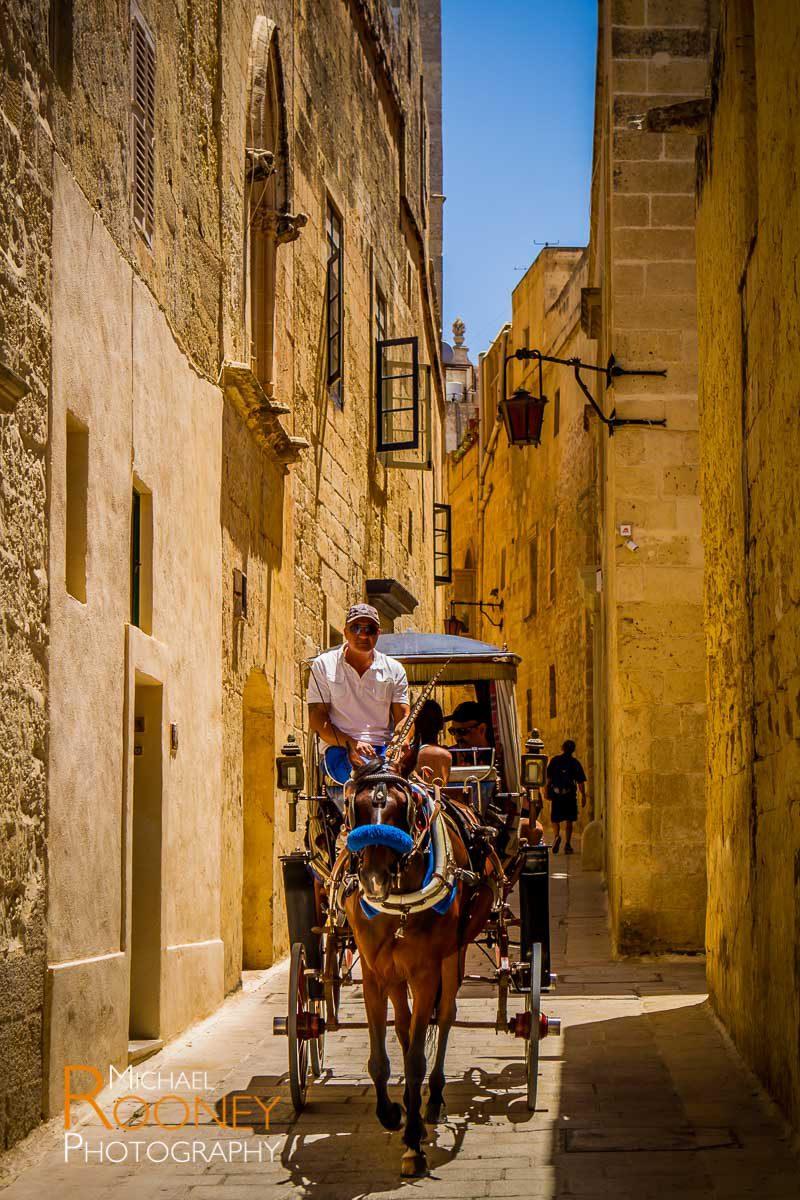 horse carriage tourism narrow alley street mdina malta sunny historic