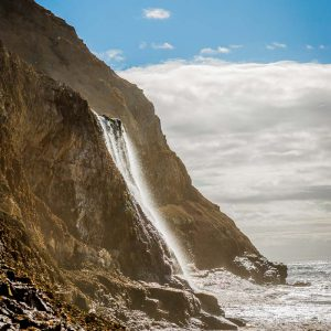 Alamere Falls in Point Reyes National Seashore flowing into the Pacific Ocean
