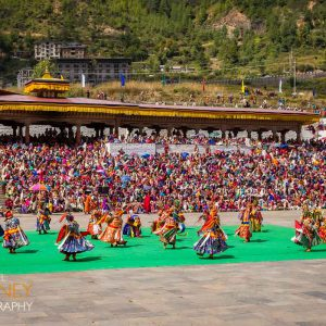 Traditional dancers perform in the annual Thimphu Festival in October 2019 in Bhutan