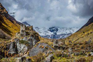 ruins fort jhomolhari base camp bhutan mountain clouds