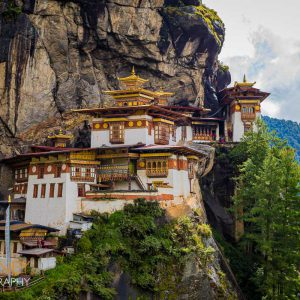 Paro Taktsang or the Tiger's Nest Monastery on a cliffside high above the Paro Chu river valley