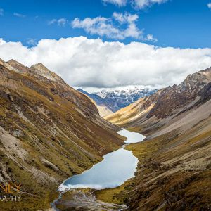 The Tshophu Twin Lakes as viewed from the top of the valley in Bhutan