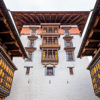A tower in the Rinpung Dzong (or buddhist fortress) in Paro, Bhutan