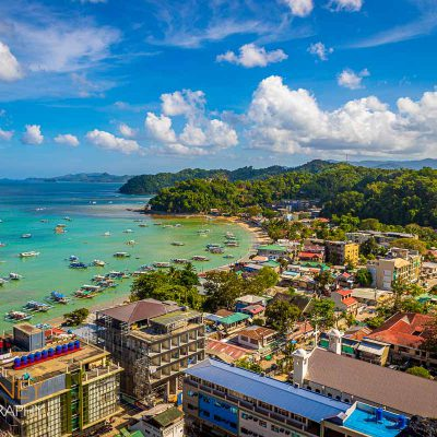 A view from above El Nido town and bay in Palawan, Philippines