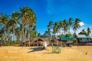 boat beach palm tree maintenance repair nacpan beach el nido palawan philippines