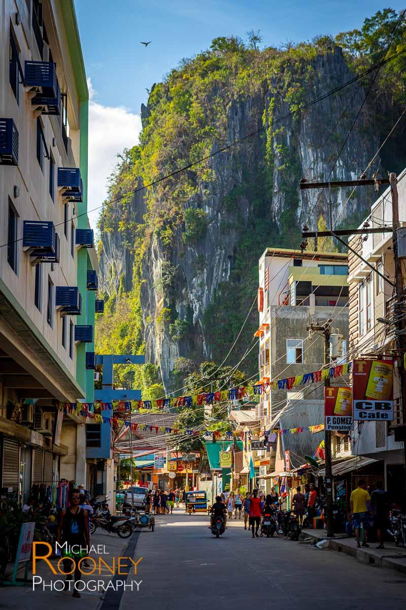 street town urban buildings cliff el nido palawan philippines