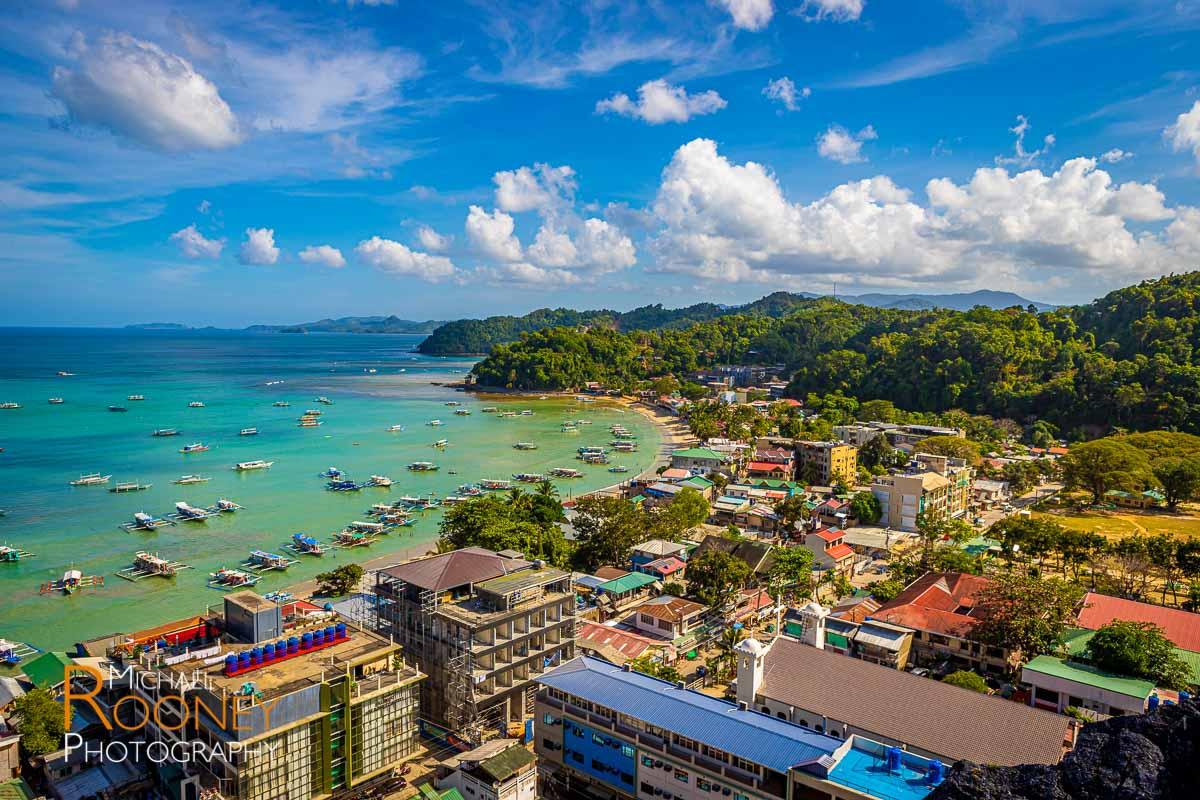 town bay buildings boats el nido palawan philippines
