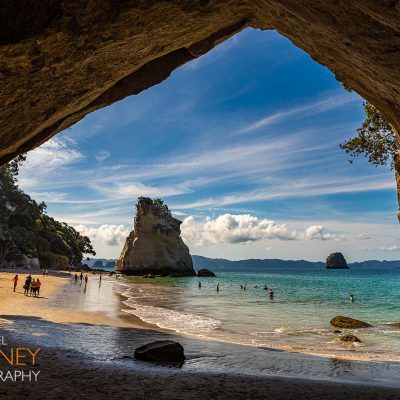 Te Hoho Rock viewed from inside the Cathedral Cove Cave near Hahei on the Coromandel Peninsula in New Zealand on a sunny day
