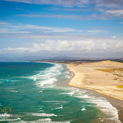 Untouched beach and sand dunes south of Mangawhai Heads in Mangawhai, New Zealand on a sunny day