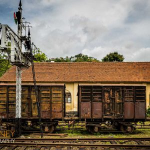 Disused freight railroad cars at the Kandy Railway Station in Sri Lanka