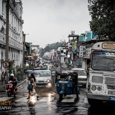 Downtown traffic on a rainy day in Kandy, Sri Lanka