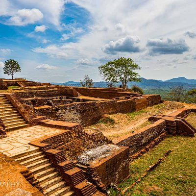 The terraces atop Sigiriya Fortress on a sunny day in Sri Lanka